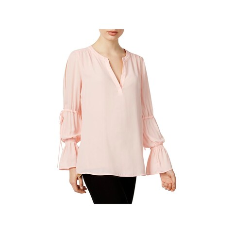 NY Collection Womens Blouse Chiffon Poet Sleeves
