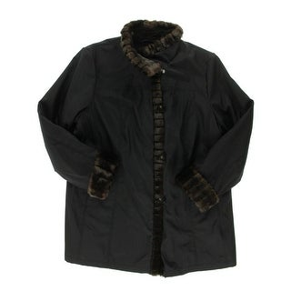 Gallery Womens Plus Faux Fur Lined Coat