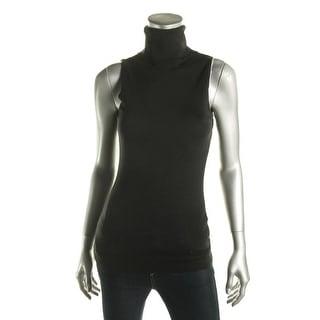 Ralph Lauren Womens Silk Blend Sleeveless Turtleneck Sweater