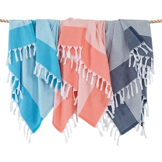 Link to Authentic Hotel and Spa 100% Turkish Aegean Cotton Elegant Thin Stripe Pestemal Beach Towel Similar Items in Towels