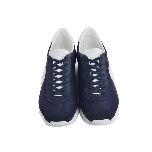 Shop Versus Versace Mens Navy Blue Suede Leather Lion