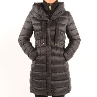 "Tahari ""Olivia"" Down Coat With Ruching - Black"