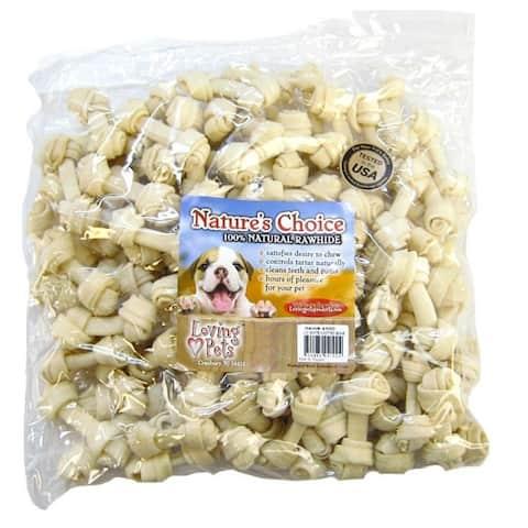 "Nature's Choice 100% Natural Rawhide Bones 2-3"" Chews - 100 Pack"