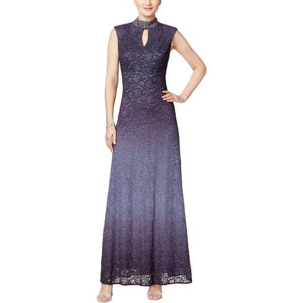 Alex Evenings Womens Petites Evening Dress Lace Embellished 12p