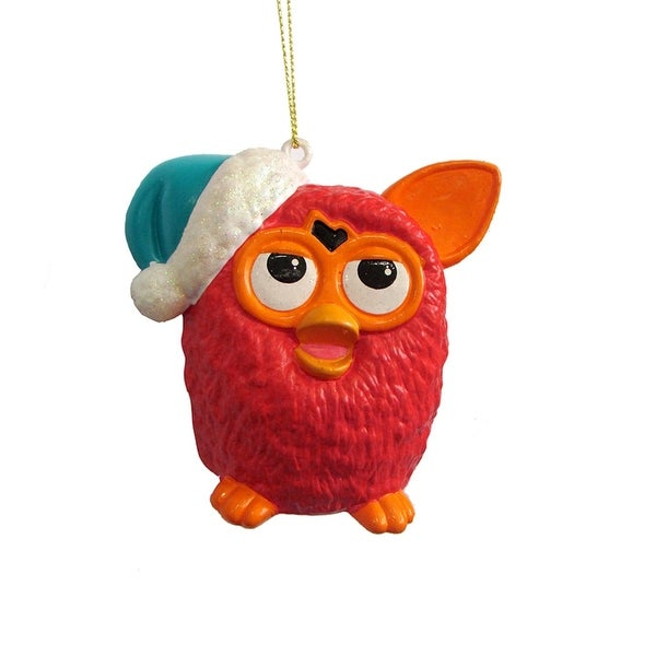 "3.5"" Red Furby with Orange Ears Wearing a Blue Glittered Santa Hat Christmas Ornament"