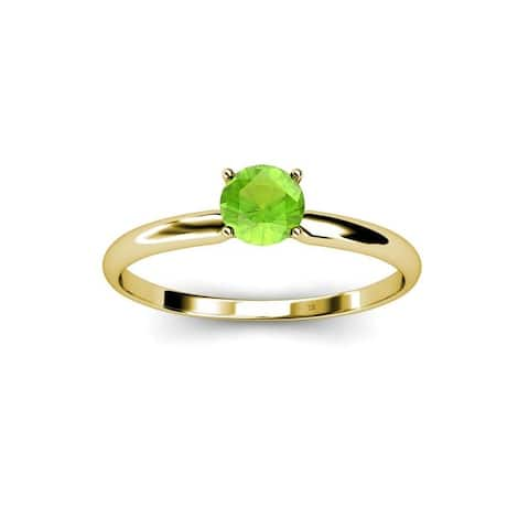 TriJewels Round Peridot 1/2 ct Womens Solitaire Engagement Ring 14K Gold