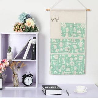"""Cotton Linen Foldable Hanging Storage Bag 22.8"""" x 12.5"""" with 5 Pockets Organizer - 22.8"""" x 12.5"""""""