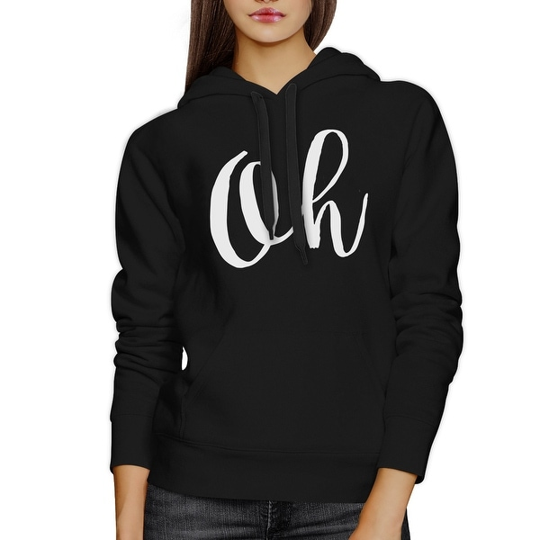 Oh Black Hoodie Pullover Fleece Typographic Christmas Gifts