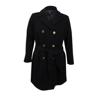 ed3b6c6cc75 Shop INC International Concepts Women s Plus Size Double-Breasted Coat -  Black - Free Shipping Today - Overstock.com - 19966526