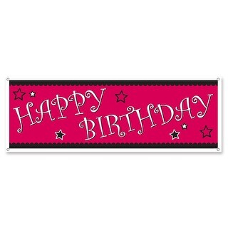 """Pack of 12 Pink and Black Star """"Happy Birthday"""" Banner Decorations 60"""" x 21"""""""