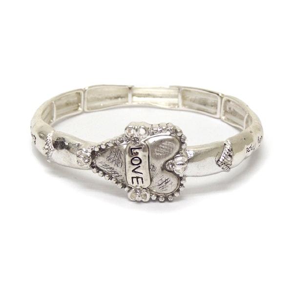 Metal textured heart message bracelet for Valentine's Day