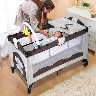 New Coffee Baby Crib Playpen Playard Pack Travel Infant Bassinet Bed Foldable
