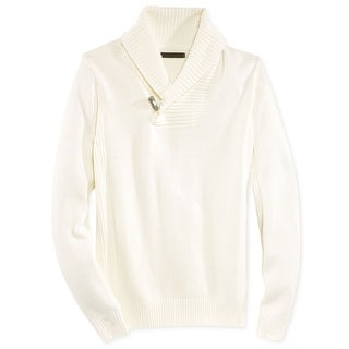 Sean John NEW White Ivory Mens Size 3XL Shawl-Collar Ribbed-Knit Sweater