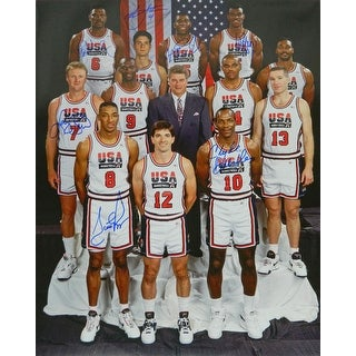 1992 Team USA Olympic Mens Basketball Dream Team 16x20 Photo w7 Signatures
