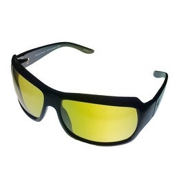 Callaway Golf Sunglass Mico1118 Black Plastic Rectangle Wrap, Yellow Golf Lens