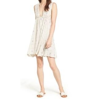 Sun & Shadow Beige Womens Size Small S Drawstring Swing Shift Dress