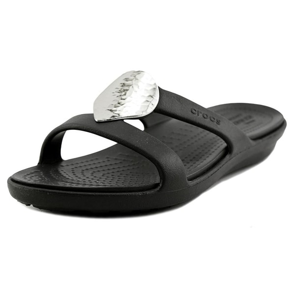 Shop Crocs Sanrah Women Open Toe Synthetic Black Slides