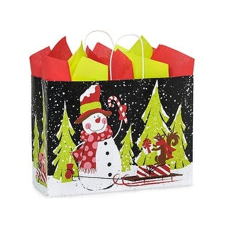 "Pack Of 250, Vogue 16 X 6 X 12"" Chalkboard Snowman Recycled Paper Shopping Bags Made In Usa"
