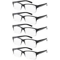 Eyekepper 5-pack Spring Hinges Vintage Reading Glasses Men Readers Black-clear Frame +1.25