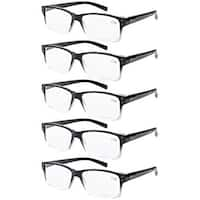Men 5-pack Spring Hinges Vintage Reading Glasses Readers Black-clear Frame +1.75
