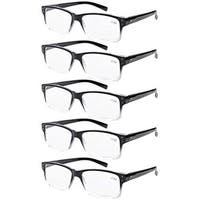 Eyekepper 5-pack Spring Hinges Vintage Reading Glasses Men Readers Black-clear Frame +3.5