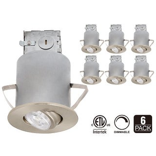 3-Inch ETL-listed Air Tight IC Housing + Satin Nickel Swivel Trim + LED Dimmable GU10 Light Bulb 5000K