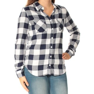 Womens Navy Plaid Cuffed Collared Casual Button Up Top Size S