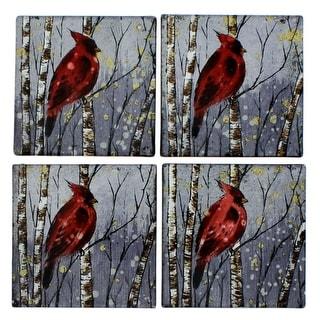 Glass Cardinal Coaster Set of 4