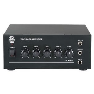 25V/70V Power Amplifier - Microphone Audio/Speaker Control Amp, 1/4'' Mic Inputs, 40 Watt