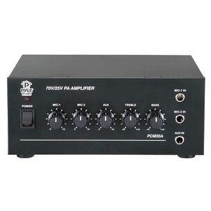 25V/70V Power Amplifier - Microphone Audio/Speaker Control Amp, 1/4'' Mic Inputs, 40 Watt