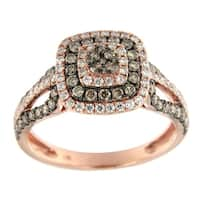 Prism Jewel 1.00Ct Brown Color Diamond with Natural Diamond Engagement Ring, Rose Gold - White G-H