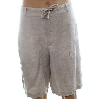 Perry Ellis NEW Beige Mens Size 34 Drawstring Chambray Linen Shorts