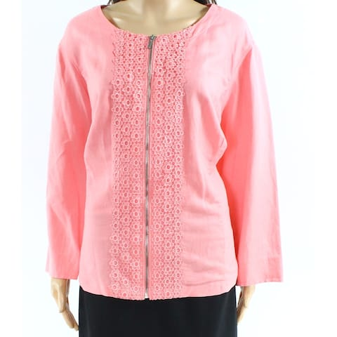 Ruby Rd. Pink Womens Size 20W Plus Zip Front Embroidered Jacket