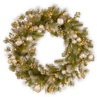 Pre-Lit Pomegranate Pine Artificial Christmas Wreath - 30-Inch, Warm White LED Lights - Green