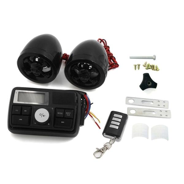 Anti-Theft Motorcycle Skull Design Audio Stereo Speaker Remote System Black