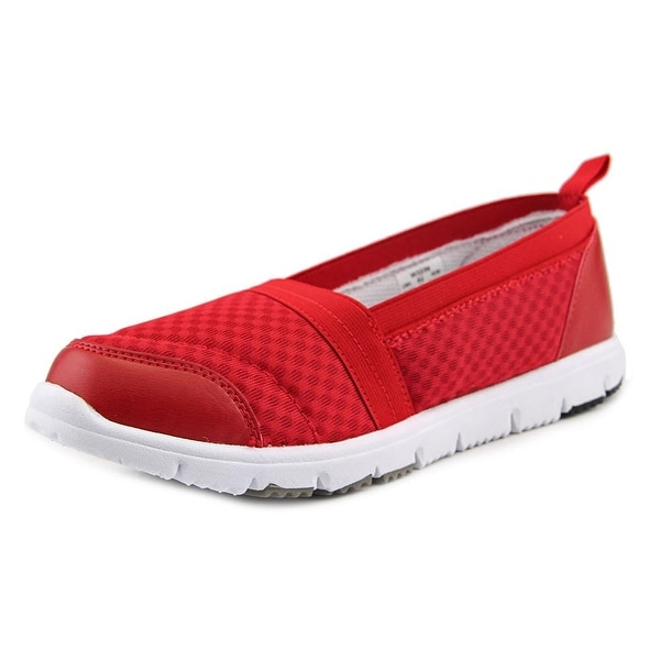 Propet Travel Walker Slip-On Elite Women W Round Toe Synthetic Red Loafer