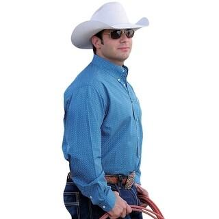 Cinch Western Shirt Mens Necktape Long Sleeve Logo Teal MTW1104507