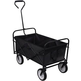 vidaXL Black Foldable Garden Trolley
