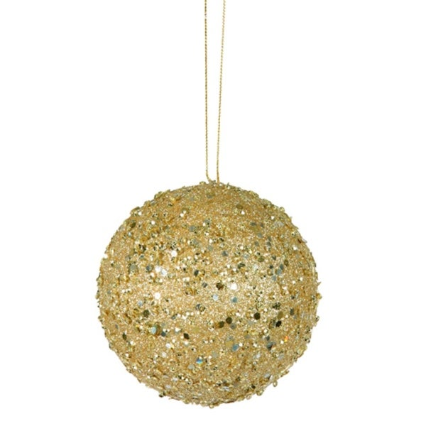 """Fancy Gold Holographic Glitter Drenched Christmas Ball Ornament 3"""" (80mm)"""