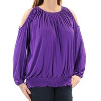 INC Womens Purple Cold Shoulder Long Sleeve Jewel Neck Top  Size: L