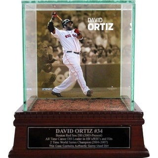 David Ortiz Swinging Background Glass Single Baseball w Fenway Park Authentic Dirt Nameplate