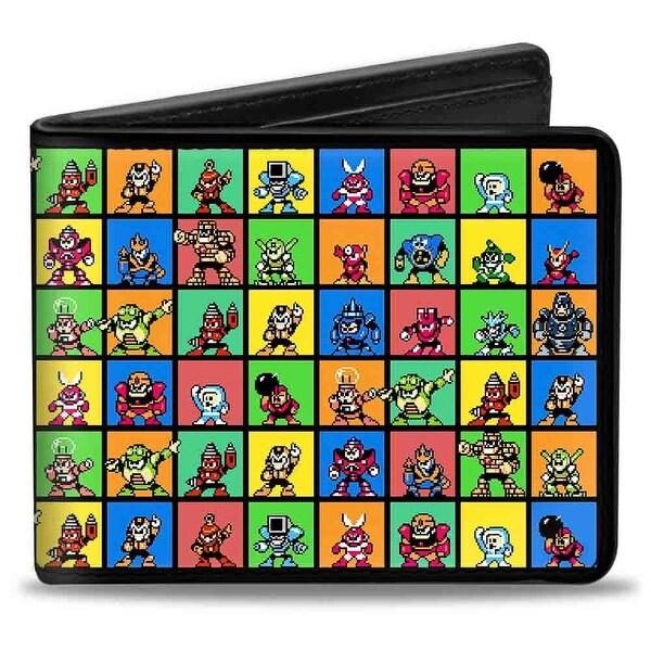 Megaman 8 Bit Character Multi Color Blocks Bi Fold Wallet - One Size Fits most