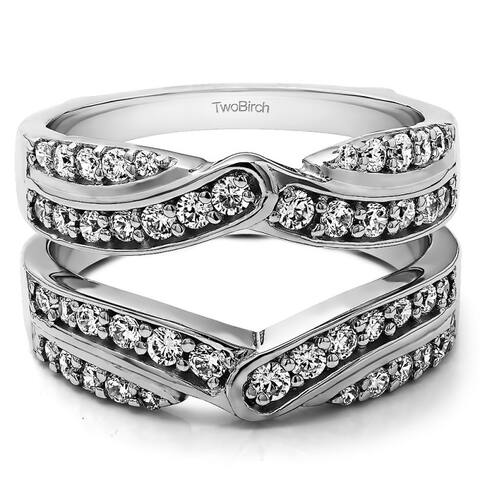 3/4 Ct Infinity Bypass Ring Guard Cubic Zirconia Sterling Silver