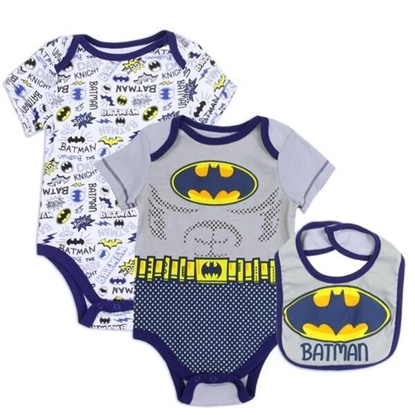Batman Baby Boys Gray Yellow Logo Comics Print 3 Pc Bib Bodysuit Set