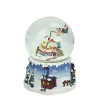 "5.5"" Santa Claus on Sleigh and Snowy Village Rotating Musical Christmas Water Globe Dome - BLue"