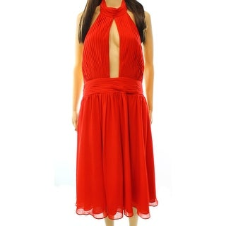Fame & Partners NEW Red Women's Size 12 Empire Waist Pleated Dress