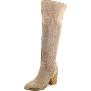 Steve Madden Saudy Women Round Toe Suede Tan Over the Knee Boot