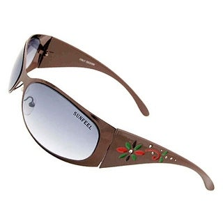 Women Modern Eyewear Flower Frame Grey Lenses Sunglasses