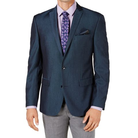 Bar III Mens Suit Seperate Blue Size 38S Short Two Button Slim Stretch