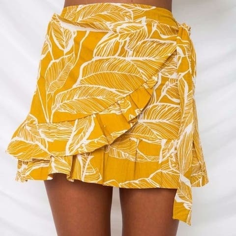 Flounce Tie V-Neck Skirt